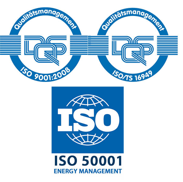 Certification ISO 9001, ISO/TS 16949, ISO 50001